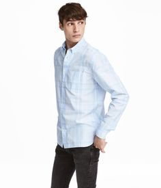 Cotton Shirt Regular fit | Light blue/checked | Men | H&M US