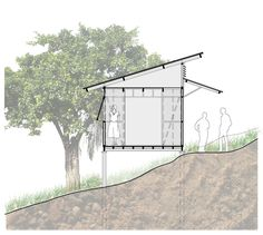 Gallery of Architectural System for Rural Social Interest Housing / Ensamble de Arquitectura Integral - 44 Architectural Floor Plans, Architectural Section, Small Cafe Design, Small House Design, House Deck, Tiny House Cabin, Light Architecture, Architecture Portfolio, Tree House Designs