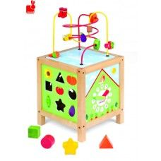 This beautiful wooden Janod Garden Maxi Spiral Looping Activity Cube features 5 fun learning activities. Brightly painted with a gorgeous garden theme. The cube will aid baby and toddler development of concentration, motor skills, logic and dexterity. Activity Cube, Activity Toys, Activity Centers, Infant Activities, Fun Activities, Toddler Toys, Kids Toys, Toddler Playroom, Kids Tool Box