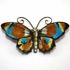 Sterling Silver Large David Andersen Multi Color Enamel Butterfly Pin Brooch