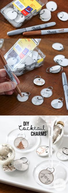 DIY Cocktail Charms are a great accent to any holiday party - find Avery metal rim tags at Staples.