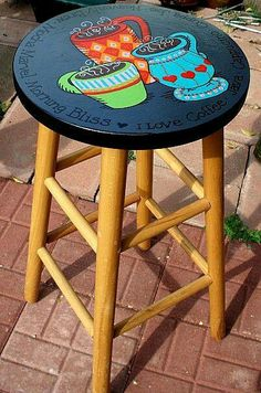 Need yo do this on kitchen stools w/paint and decoupage Handpainted coffee cups on bar stool. Whimsical Painted Furniture, Hand Painted Furniture, Paint Furniture, Furniture Projects, Furniture Makeover, Furniture Stores, Laminate Furniture, Dresser Furniture, Cardboard Furniture