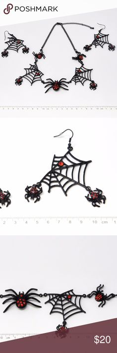 """Halloween Spider and Web Necklace and Earrings Set This BRAND NEW jewelry set is a perfect piece of Halloween fashion statement.  It is made of black enamel alloy adorned with red rhinestones.  Never worn before.  The length of the necklace is 18"""" including a 3"""" extender chain. Jewelry Necklaces"""