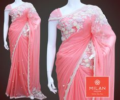 Six yards of pure grace, elegance and beauty... Milan Design presents #PeachColored Chiffon #Saree with Pearl and Cut bead handwork design. visit our site : www.milandesign.in #milanfashionsarees #milansilksarees #milanfabricsarees #Milandesignersarees #Milansarees #Milandesignsarees