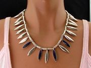 VINTAGE MODERNIST HEAVY MEXICO STERLING SILVER LAPIS CHOKER COLLAR NECKLACE