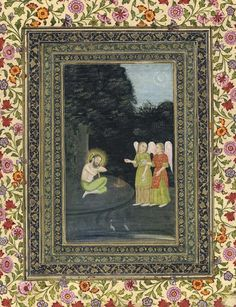 Ibrahim Adham Visted by Two Angels. India, Oudh, mid-18th Century. Gouache and…