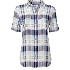Rental Equipment Plaid Signature Button Down ($50) ❤ liked on Polyvore featuring tops, shirts, plaid, blouses, dresses, print, yellow top, blue top, yellow shirt and blue collared shirt