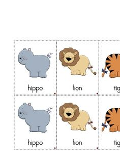 African Animals Picture Matching Printable  Preschool  Zoo