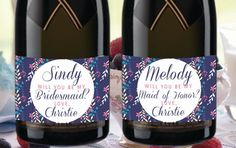 Navy Blue BRIDE MINI CHAMPAGNE Labels Custom by LabelByLoveArts