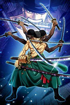 'Roronoa Zoro Ashura - one piece' Poster by Raed-D-Artist One Piece Manga, One Piece Series, Zoro One Piece, One Piece World, Roronoa Zoro, Art Anime, Anime One, Anime Girls, One Piece Personaje Principal