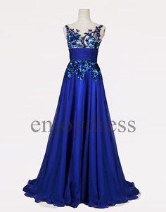 Custom Royal Blue Applique Long Prom Dresses Evening by enjoydress
