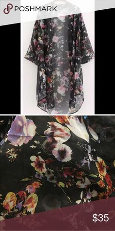 🆕✨Black Sheer Floral Kimono Cardigan Perfect cover and add-on to any outfit. ✨Very easy to wear and goes with almost anything.✨97% Polyester + 3% spandex✨ ❌No trades Sweaters Cardigans