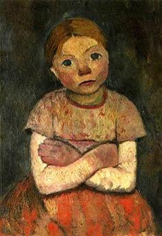 Paula Modersohn-Becker - Sitzendes Mädchen mit verschräken Armen, 1903