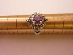 Nice Amythest & Marchesite Sterling Ring Sz 7.75