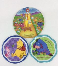 LOT 3 Vintage Eeyore Winnie The Pooh Piglet Mcdonaldland Melamine ZAK Plates BB6 #ZakandMelamineDinnerware