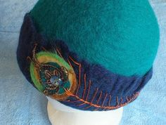 Felt hat wool hat Peacock by Louisa Rull FeltSoapGood Sold