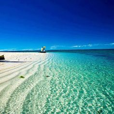 Blue ocean and a white beach in Madagascar. Check out the Matthew Williamson beach wear collection at matthewwilliamson.com