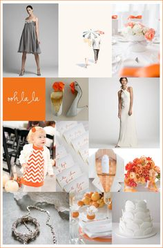 Orange and gray wedding board