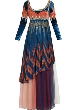 Blue and red embroidered digital printed kurta with shaded tulle skirt available only at Pernia's Pop Up Shop.