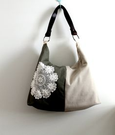 Slouch style, shoulder bag, tote, beige linen and khaki canvas with vintage doily. $40.00, via Etsy.