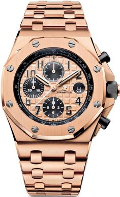 Audemars Piguet Royal Oak Offshore Chronograph 26470OR.OO.1000OR.01.The ultimate expression of the Royal Oak Offshore\'s uncompromising luxury, fitted with a beautifully crafted, silky smooth pink-gold bracelet.