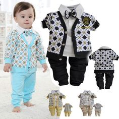 Baby spring autumn clothing set plaid gentleman 3pcs suit for toddler boys cotton baby clothes blue yellow Retail $21.32 - 22.69