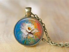White Flower Necklace  Altered Art Pendant  by ShakespearesSisters, $10.00