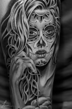 Sugar Skull Tattoo - Black and White Tattoo - Grey Tattoo Best Tattoos Ever - Tattoo by Jun Cha - 04 Part of me hates this tat because she looks like an ex employee, but it's an amazing piece. Creative Tattoos, Great Tattoos, Beautiful Tattoos, Body Art Tattoos, Tattoos For Guys, Skull Candy Tattoo, Skull Girl Tattoo, Sugar Skull Tattoos, Tattoo Girls