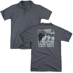 THREE STOOGES/SCARES PEOPLE (BACK PRINT) - MENS REGULAR FIT POLO - CHARCOAL -