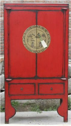chinese red antique two door two drawer carved wedding cabinet