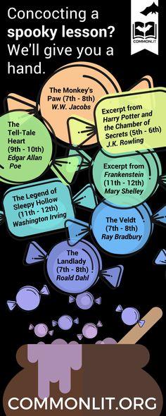 short story ideas for Halloween 7th Grade Ela, 6th Grade Reading, Middle School Reading, Sixth Grade, Teaching Tips, Teaching Reading, Reading Resources, English Resources, Teaching English