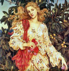 Lovely Painting of Flora The goddess of Flowers, Evelyn de Morgan pieces) Pre Raphaelite Paintings, Arte Van Gogh, Renaissance Art, Art History, Art Inspo, Cross Stitch Patterns, Illustration, Flora, Fine Art