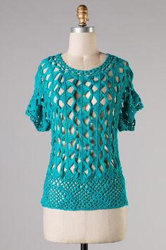 Crochet Casey Top in Teal on Emma Stine Limited