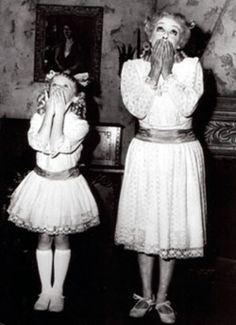 """Bette Davis and Julie Allred, both playing Baby Jane old and young, in """"Whatever Happened to Baby Jane?"""""""