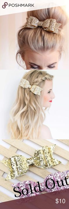 {Glam} Gold Glitter Big Bun Bow Cheer Hair Bow NWT Gold glittery glam clip in hair bow. So cute with a big bun or braid. Also perfect as a cheer bow! This listing is for one gold glitter bow brand new in package! Bow size: 4 inch Accessories Hair Accessories