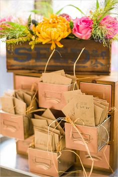 Kraft paper wedding favors.