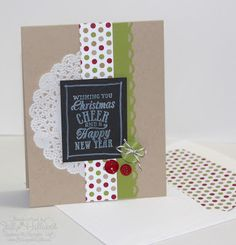 Jill used the Chalkboard Technique in her cute holiday card. It features Christmas Messages, Season of Style dsp, Tea Lace Paper Doily, Chalk Marker, & Envelope Liner Framelits.