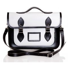 White and Black Leather Satchel ($185) ❤ liked on Polyvore