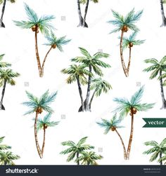 Watercolor Vector Pattern Tropical, Palm Trees - 281812418 : Shutterstock