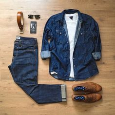 Outfit grid - Double denim look http://www.99wtf.net/men/mens-fasion/latest-mens-casual-trouser-trend-2016/