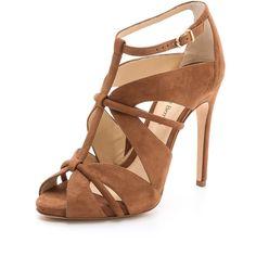 Alexandre Birman Natie Sandals (€170) ❤ liked on Polyvore featuring shoes, sandals, heels, sapatos, beige, footwear, beige high heel sandals, leather heeled sandals, beige sandals and caged heel sandals