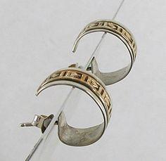 vintage NOS Sterling Silver and gold filled post hoop earrings E495 Vintage Earrings, Vintage Jewelry, Vintage Shops, Vintage Items, Indian Arts And Crafts, Native American Earrings, Native American Artifacts, Hoop Earrings, Sterling Silver