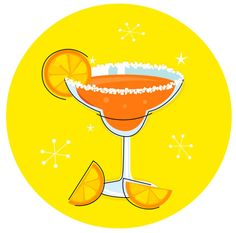 Retro Margarita drink or cocktail with citrus fruit - orange Royalty Free Stock Vector Art Illustration Margarita Drink, Fruit Vector, Cocktails, Drinks, Free Vector Art, How To Draw Hands, Etsy Shop, Cartoon, Orange