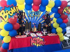 Hubby Birthday, 5th Birthday Party Ideas, Superhero Birthday Party, Wonder Woman Birthday, Wonder Woman Party, Balloons Galore, Superman Party, Superhero Baby Shower, Birthdays