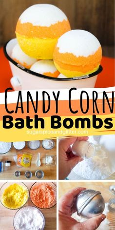 Candy Corn Bath Bomb ⋆ Sugar, Spice and Glitter The ultimate candy corn craft for fall - these Candy Corn Bath Bombs smell just like the real thing and make such a cute gift or addition to your bathroom decor Bath Body Works, Bath And Body, Candy Corn Crafts, Homemade Bath Bombs, Diy Bath Bombs, Bath Bomb Recipes, Soap Recipes, Bread Recipes, Bath Boms