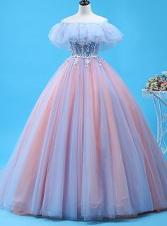 Ball Gown Pink Tulle Off The Shoulder Prom DressWomens cloths Ideas Stylish Womens Clothes That Any girl Would Love Pink Formal Dresses, Cute Prom Dresses, Quince Dresses, Ball Dresses, Pretty Dresses, Evening Dresses, Wedding Dresses, Pink Ball Gowns, Tulle Ball Gown