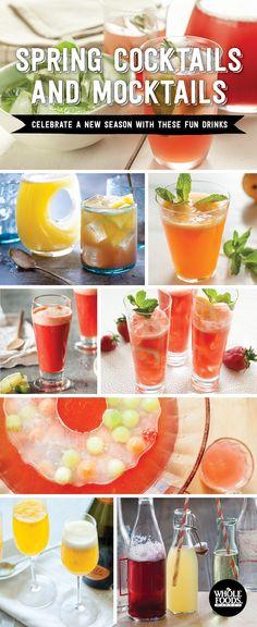 Spring Cocktail and Mocktail Recipes! Strawberry-Lemon Soda // Spring Sparkler // Mango-Sake Sling // Mango Cocktail // Mango Mimosas // Pink Wine Punch // Fruity Soda Pop // Sparkling Spring Punch