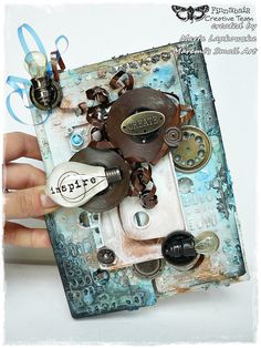 """Mixed media cassettes canvas """"Create - Inspire"""""""