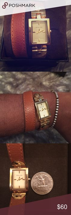 Michael Kors double strap leather watch Cognac colored leather watch. Worn twice and in almost perfect condition. Comes with box but needs a new battery. Very feminine and cute! Michael Kors Accessories Watches