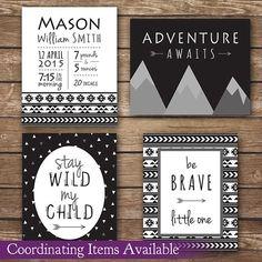 Personalized Printable Wall Art by MadeByMonVon, black and white nursery, tribal nursery, modern nursery, gender neutral